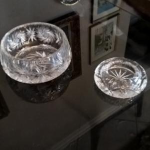 Κρυστάλλινη φοντανιέρα  σετ με κρυστάλλινο τασάκι