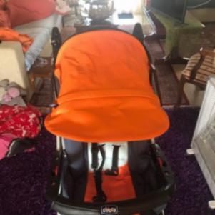 Παιδικο καροτσι chicco trio πορτοκαλι-μπλε