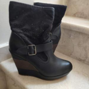 Suede Black Crystal Women Wedge Ankle Boots