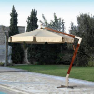 Γωνιακή Στρογγυλή Ομπρέλα 300cm ,Με Ξύλινο Κορμό