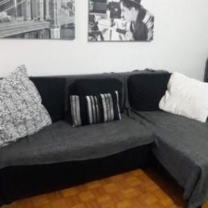 Μαύρος 3θεσιος γωνιακός καναπές