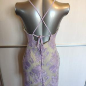 Halter Neck Backless Lace Dress Lavender