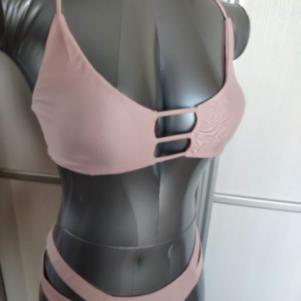 Brazilian Cut Out Strappy Bikini Pink - Large