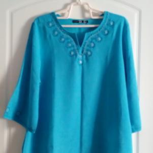 Γαλάζια πουκαμίσα με κέντημα