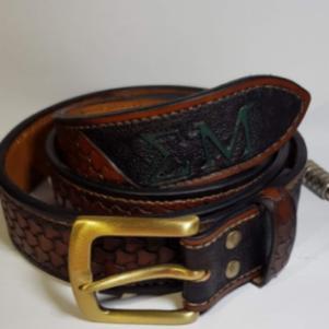 Δερμάτινη ζώνη χειροποίητη / Custom tooled leather belt handmade