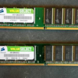 ΠΩΛΟΥΝΤΑΙ 2 ΜΝΗΜΕΣ RAM CORSAIR VS1GB400C3 VALUE SELECT 1GB DDR1