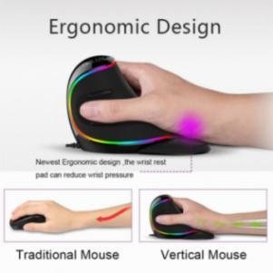 Εργονομικό κάθετο ποντίκι RGB 6 κουμπιά 4000 DPI οπτικό ποντίκι
